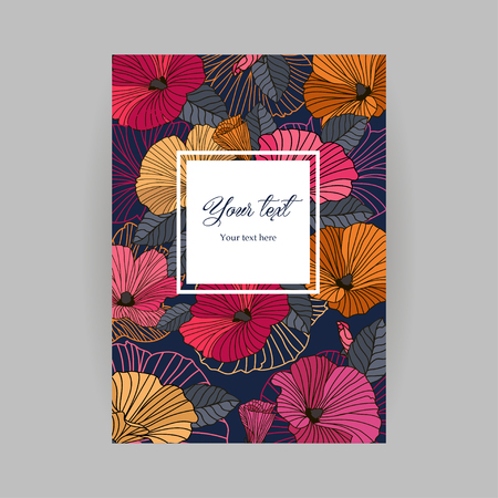 pink flower background: Romantic bright postcard, abstract red, orange, pink flowers with contours on a dark background, the inscription in the frame, greetings for birthday, valentines day, mothers day, illustration