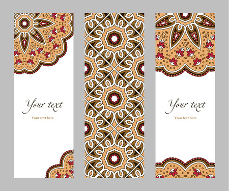 narrow: Set of narrow vertical banners with decorative circular ethnic elements on a white background, orange red brown beige black, illustration
