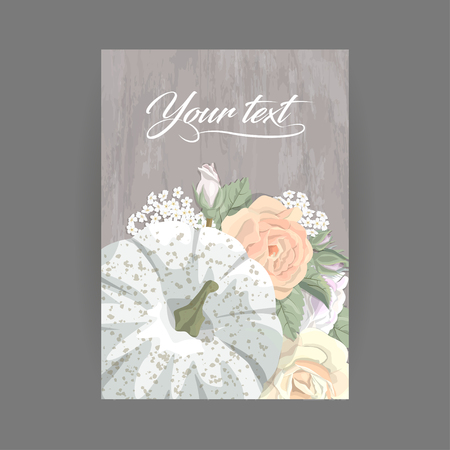 Vintage Postcard Vertical Pumpkin Bright Roses Small Flowers And Leaves In Pastel Colors On