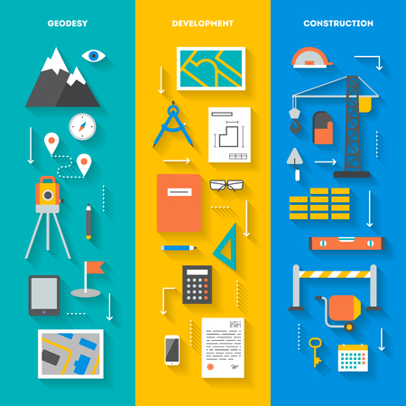 Concept set of vertical banners tools and objects for geodesy development construction and repairs, flat icons with diagonal shadow, vector illustration Vettoriali
