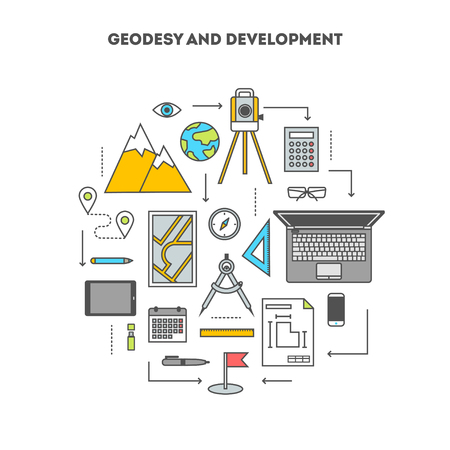 geodesy: Concept set of tools and devices for surveying and engineering construction, the flat icons, vector illustration Illustration
