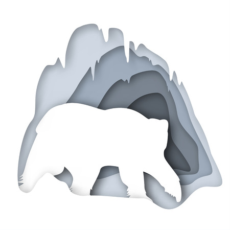 Vector banner to the polar bear day, silhouette with imitation depth. Adult Polar Bear about his house, snow cave, vector illustration