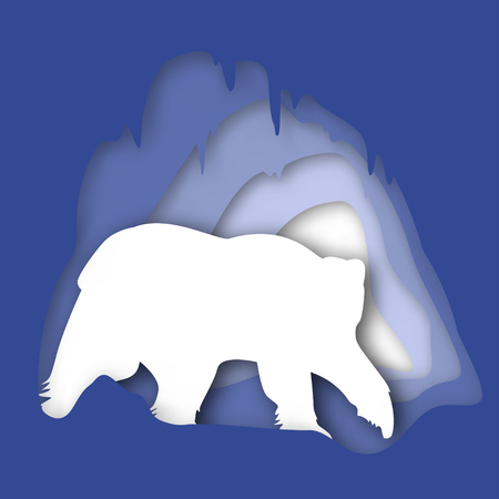 burrow: Vector banner to the polar bear day, silhouette with imitation depth. Adult Polar Bear in his house, snow cave, vector illustration