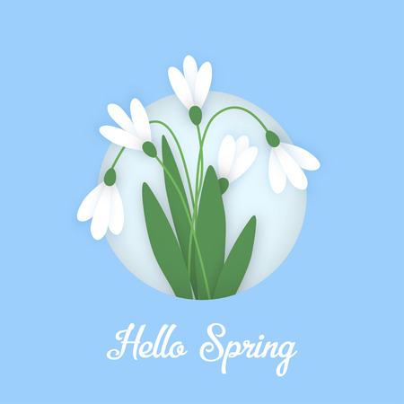 Spring Banner with colored paper flowers in circle and inscription. Flowers white snowdrops with leaves growing out of the snow against the sky. Vector illustration