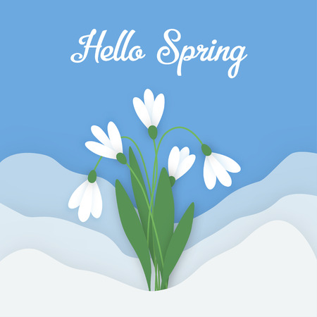 spring out: Spring horizontal banner with colored paper flowers with space for your text. Flowers white snowdrops with leaves growing out of the snow against the sky. Vector illustration