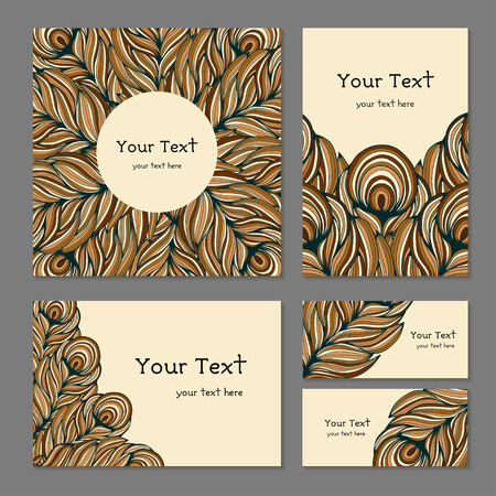 biege: Set of business templates for printing. Banners with abstract ethnic decorative pattern in brown colors. The pattern of the feathers in the ethnic style, vector illustration