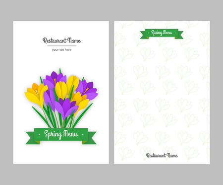 sided: Restaurant spring double sided menu card design business templates. Colored paper flowers yellow and purple crocuses with leaves and green ribbon with white inscription. Vector illustration