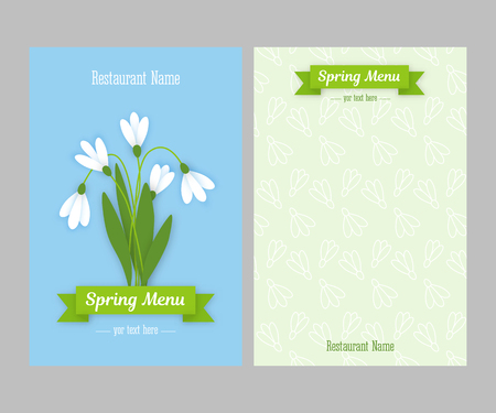 sided: Restaurant spring double sided menu card design business templates. Colored paper flowers white snowdrops with leaves against sky and green ribbon with white inscription. Vector illustration Illustration