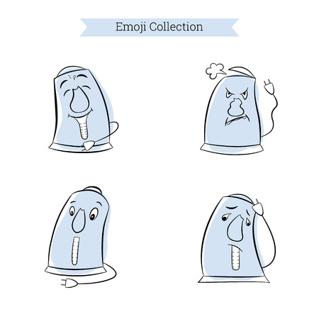 Set of electric kettle emoji with eyes and mouth. Blue vintage character with cute cartoon faces. Sadness, surprise, anger and joy. Vector illustration