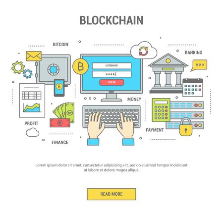 블록 체인 개념 금융 배너 플랫 디자인 라인 아트. 은행 및 비트 코인, 돈 교환에 의해 지불의 아이콘의 세트. 웹 사이트, 응용 프로그램 및 인쇄에 대  일러스트