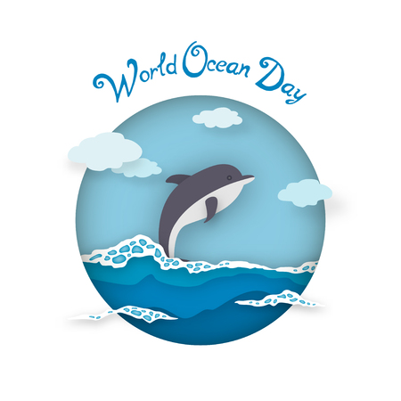 earth day: Postcard World Oceans Day style paper art. Dolphin on waves with sea foam and clouds in circle. Vector illustration
