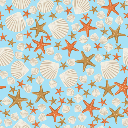 A seamless vector sea pattern with white shells and starfish of different sizes on a blue background. The concept of design for fabric, textile printing, wrapping paper or web.