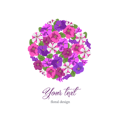 Floral template birthday, Valentines day. Pink, purple and striped petunias on white background in circle. Boutique concept, flower shop, beauty salon, spa, fashion Illustration