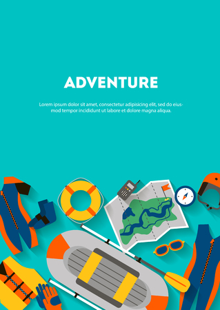 Vertical banner set equipment for sports and outdoor activities flat design with shadow. Boat, clothes, compass and map for rafting. For website, print and advertising, vector illustration
