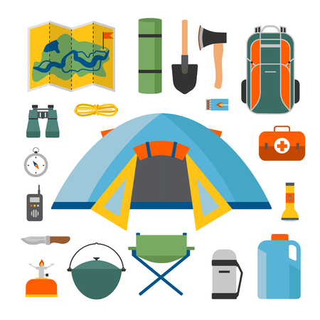 Set of camping and tourism on an outdoor in flat style. Summer background with camping equipment. For websites, printing and applications, vector illustration Stock Vector - 81313175