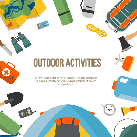 Banner set of camping and tourism on an outdoor in flat style, round. Summer background with camping equipment. For websites, printing and applications, vector illustration Stock Vector - 81710975