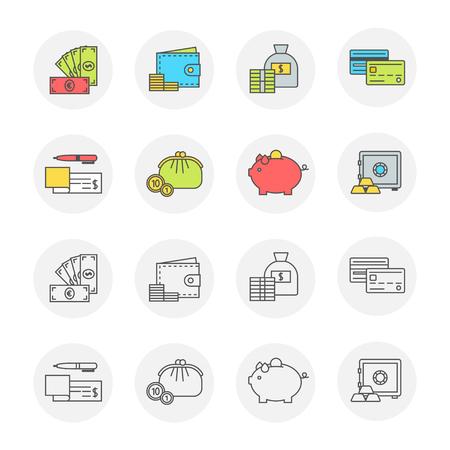 Icono conceptual establece diseño plano. Dinero, pago y finanzas símbolos modernos con contorno para sitios web y aplicaciones móviles, línea y color transparente, ilustración vectorial Foto de archivo - 82309410