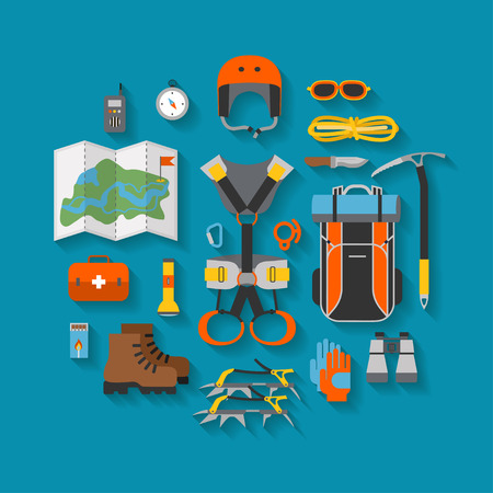 alpinism: Flat design of modern of climbing and equipment for hiking with shadow. Outfit for mountaineering and items for traveling and recreation. For web sites, applications and printing. Vector illustration