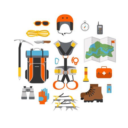 Icon set flat design of modern of climbing and equipment for hiking isolated. Outfit for mountaineering and items for traveling and recreation. For web sites, applications and printing, vector