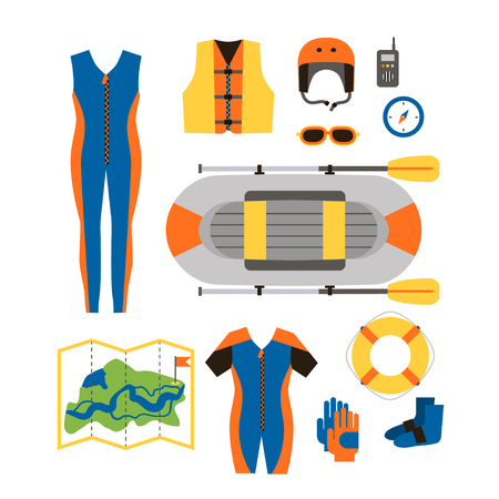 Set of equipment for sports and outdoor activities flat design. Boat, clothes, compass and map for rafting isolated. For website, print and advertising, vector illustration.