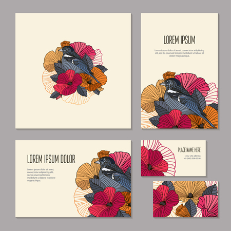 salon: Set floristic elements of corporate identity for flower shop, workshop or salon. Bright abstract flower garland and bird with outlines, vector banners. Brochure, booklet and business card