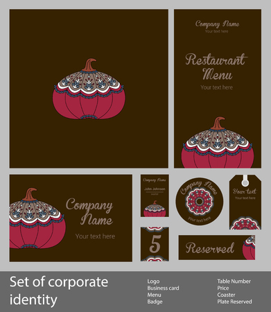 Set of corporate style elements with fruits, business template. Branding for a restaurant, cafe or pastry shop, strawberries on white napkin, on dark