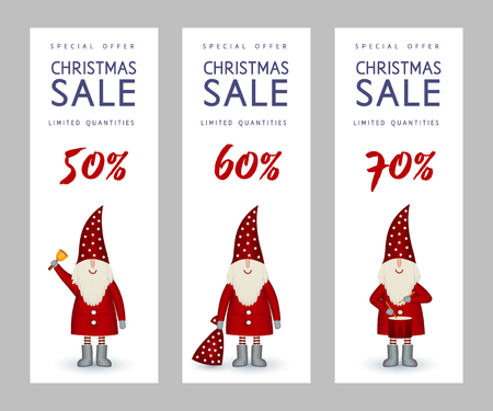 Set of Christmas sale banners cute Santa Claus