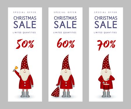 Set of Christmas sale banners cute Santa Claus