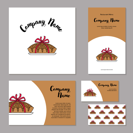 Corporate branding pie bandaged with ribbon.