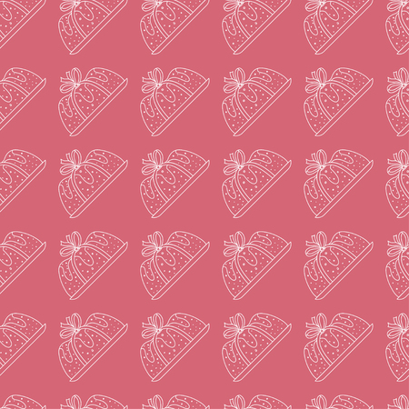 seamless pattern pie with ribbon in pink background