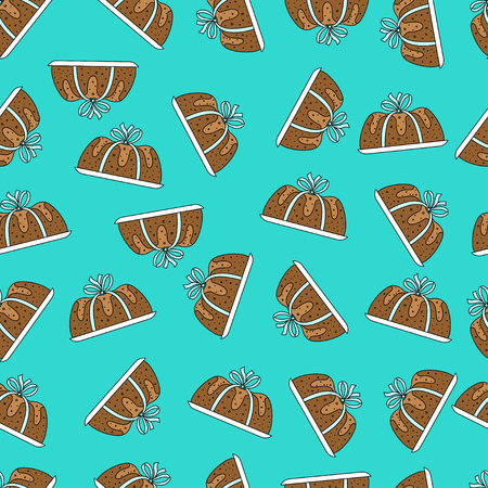 Stylish seamless pattern national cake day. Handrawing cake ribbon with ribbon in turquoise background random located. Vector illustration