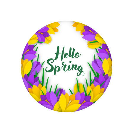 Spring Banner with colored paper flower garland and an inscription in circular frame. Flowers yellow and purple crocuses with leaves on white background. Vector illustration.