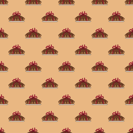 Stylish hand drawing seamless pattern national pie day. Pie with red ribbon in orange background. Ilustrace