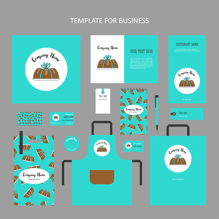 Elements of corporate identity for bakery, confectionery. Template corporate branding handrawing cake bandaged with ribbon in turquoise background.