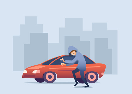 Conceptual horizontal car insurance banner, flat design. Thief in hood sneaks to car to steal against background of silhouettes of houses, vector illustration.
