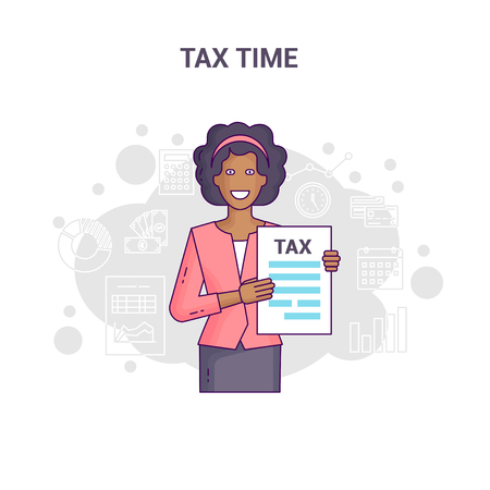 Conceptual banner reminder on tax time flat line design. A black-skinned businesswoman in shirt and tie is hold and show tax return form and tax statistics on a white background.