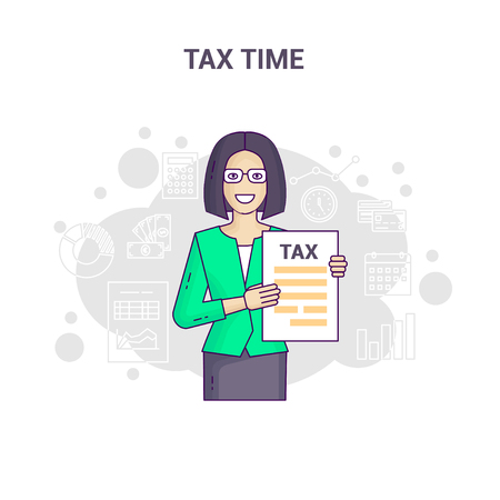 Conceptual banner reminder on tax time flat line design. Asian businesswoman in shirt and tie is hold and show tax return form and tax statistics on a white background. Stock Illustratie