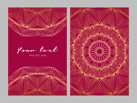 Golden ethnic patterns on red background design for your Greeting card