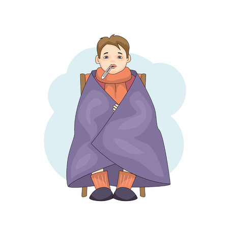 Young male character with colds isolated on white background