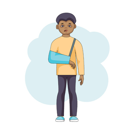 Young male character with an injured arm in plaster isolated