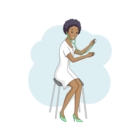 Young female black doctor in white coat, sits and listens with stethoscope. Modern style, isolated on white background. Vector illustration. Square layout.