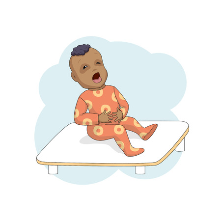 Little child in the clinic cries, clings to the stomach. Vector illustration. Illustration