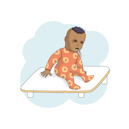 Cartoon baby image with thermometer illustration