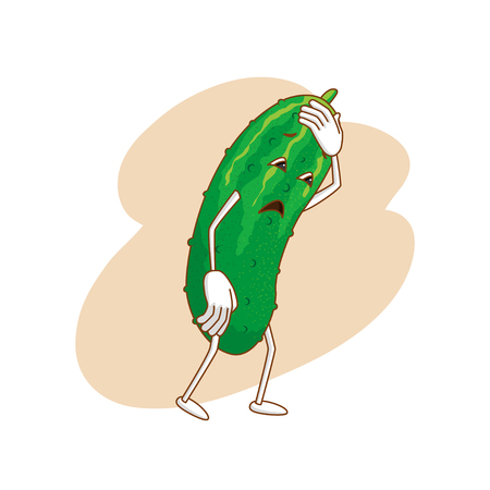 Sad emotional vegetable in cartoon style with outlines on white background. Fresh melancholy cucumber and standing and keeps to head. Vector illustration