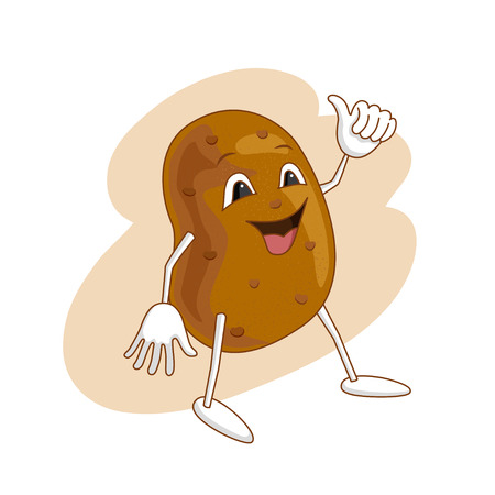 Cheerful emotional potato in cartoon style with outlines