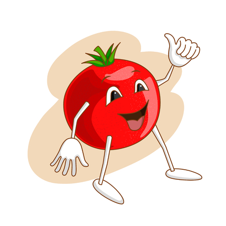 Cheerful emotional vegetable in cartoon style with outlines on white background. Ripe tomato with smile and gesture ok raised up finger. Vector illustration Illustration