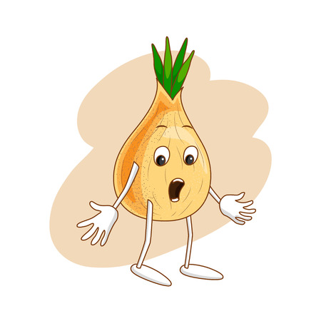 Surprised emotional vegetable in cartoon style with outlines on white background. Ripe wonder onion with wide-open eyes. Vector illustration Illustration