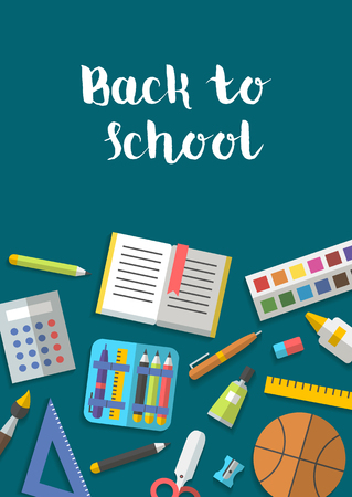 Vector collection of school supplies icons flat 일러스트