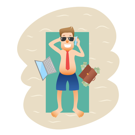 Conceptual business flat banner man on weekends isolated