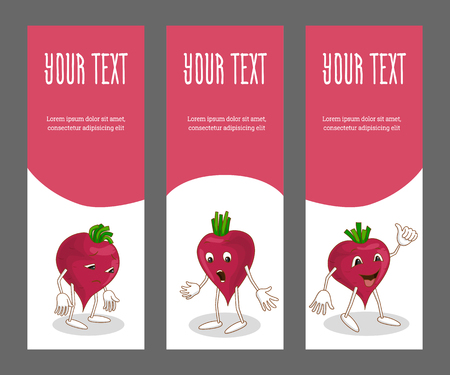 Set of vertical narrow banners with vegetable
